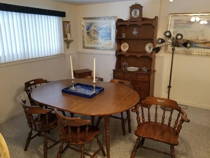Vintage Oak table and 6 chairs, 48 inches wide by 65 inches long