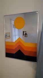 Mid Century Geometric  Turner Wall Mirror
