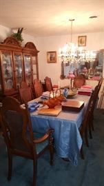Dining Table & Chairs with a Three Door China Cabinet