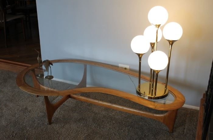 MCM Lane Adrian Pearsall coffee table and MCM table lamp