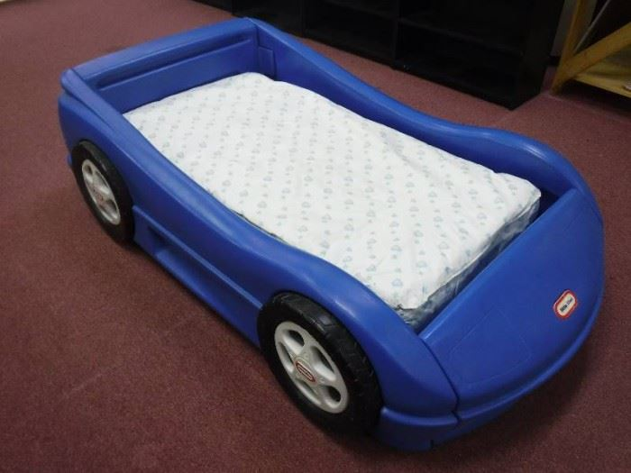 Blue little tykes race car bed with mattress todd ...