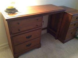 All wood desk & cabinet