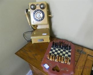 wall phone/chess set
