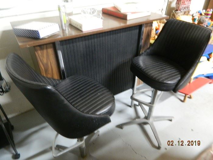 vintage bar with stools