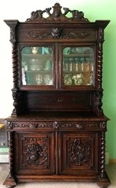 Heavy Carved Antique Harvest Cabinet Buffet 2nd picture with brighter lighting