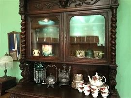 Heavy Carved Antique Harvest Cabinet Buffet