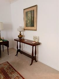 Mahogany Library Table  with Egg and Dart Molding on Apron and Trestle Bse