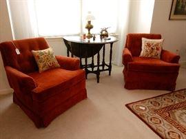 Velveteen Upholstered Club Chairs