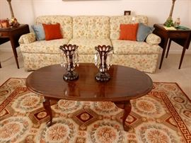 Mahogany Queen Anne Coffee Table and Rug