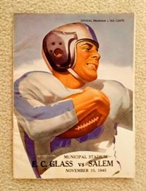 Vintage E C Glass Football Program - 1945, Glass Vs. Salem, Pristine Condition