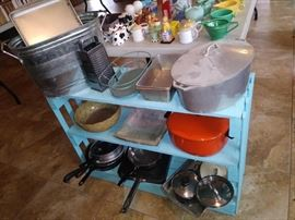 Kitchen pots and pans and other goods. Prices to sell