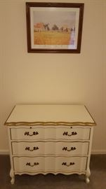 French provincial dresser with pull-out shelf. (Sold sep or with chest) Pizarro print also for sale.
