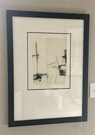 Pen and ink drawing in black and white - signed and dated