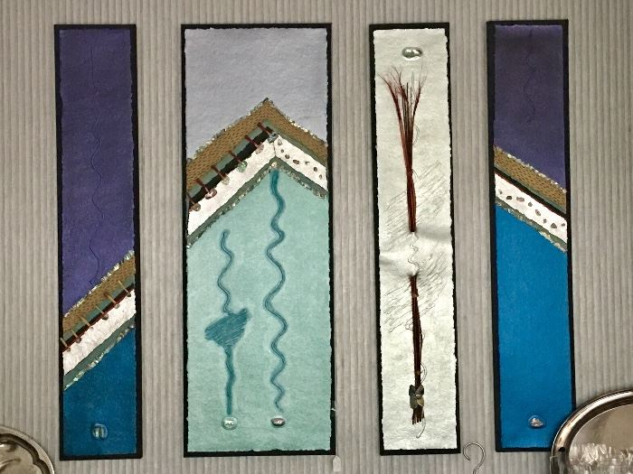 Group of paintings mounted to fabric and frames - lots of relief attachments