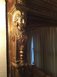 Top left of antique mirror