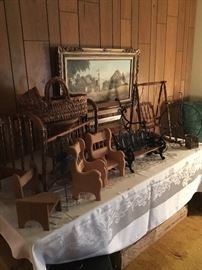 Doll benches, swing, crib and chairs
