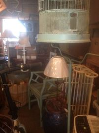 Antique & Vintage Bird Cages, lamps, chairs, antique Ladies Rocker, Iron Hanging Shelf, Mirrors, frames & tables!
