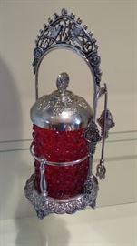 Victorian pickle castor, with tongs, in brilliant red!