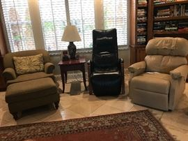 Club Chair and Ottoman, Lamp table and lamp, Zero Gravity Chair, Leather Lift chair