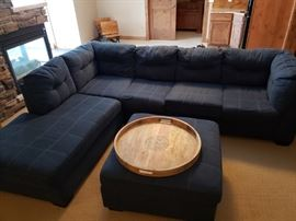 HOM furniture navy blue sectional with ottoman -- only 2 years old.  Wood tray from Pier1.