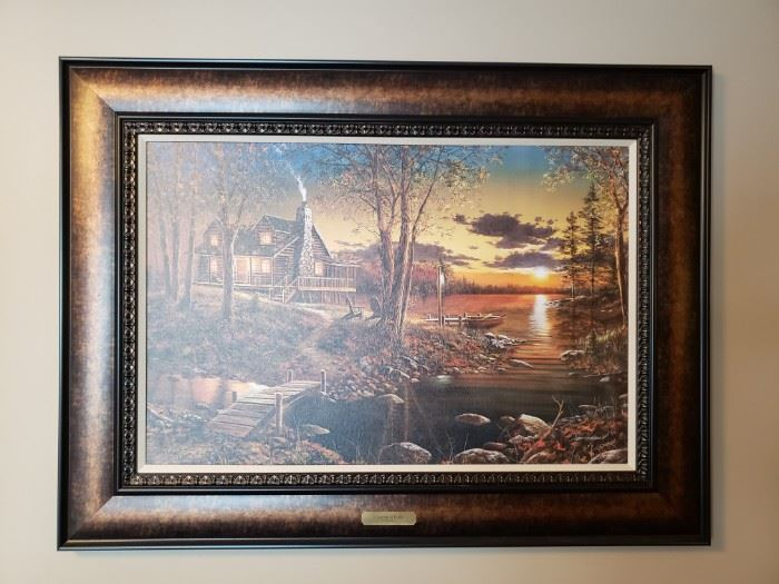 "Jim Hansel canvas print ""Comforts of Home"" approximately 58"" at the diagonal (including the frame)"