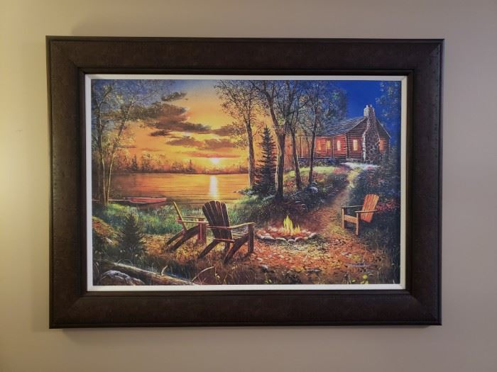 "Jim Hansel canvas ""Fireside"" approximately 55"" at the diagonal (including frame)"
