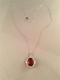 Stauer 10K White Gold Red Helenite Necklace