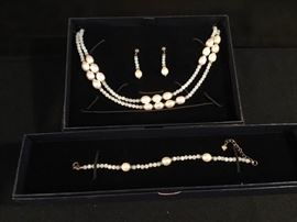 Stauer Aquamarine and Pearl Necklace, Earrings, and Bracelet