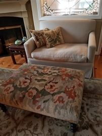Edward Ferrell loveseat, George Smith kilim ottoman