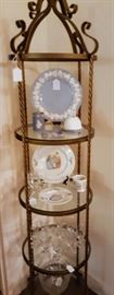 """Tall four shelf metal and glass etagere.  Wedgwood """"Embossed Queensware"""" Plate, Jasperware Peter Rabbit cup and tray, Liminary, Beatrix Potter large and small plate, and cup.  Elegant etched glasses..."""