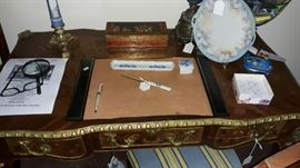 """Limoges """"Iris"""" desk set with box, tray, and letter opener.  Handpainted cake plate."""