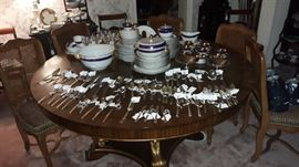 """Sterling flatware and holloware by Gorham, Westmorland, Oneida, etc.  Set of eight cane back French style chairs by Henredon with custom leopard upholstery.  Rosenthal China, Waterford """"Sheila"""" Hock Wines - seven available..."""