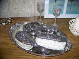 Silver Brush and Mirror Vanity Set