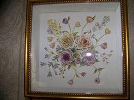 Framed Porcelain Flowers