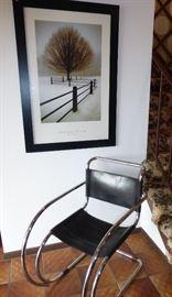 Italian Leather & Chrome Chair