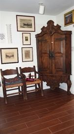 Fine Spanish Colonial Style Corner Cabinet (has age)