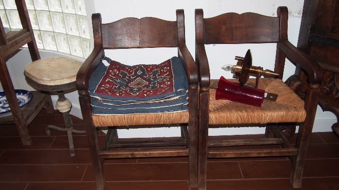 2 of 8 great MASSIVE wood chairs w/ cane seats