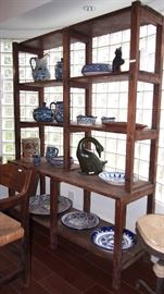 GREAT primitive Bookcase w/ Mexican Pottery
