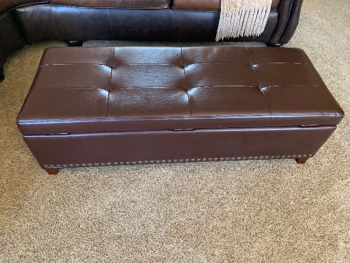 Large leather storage ottoman