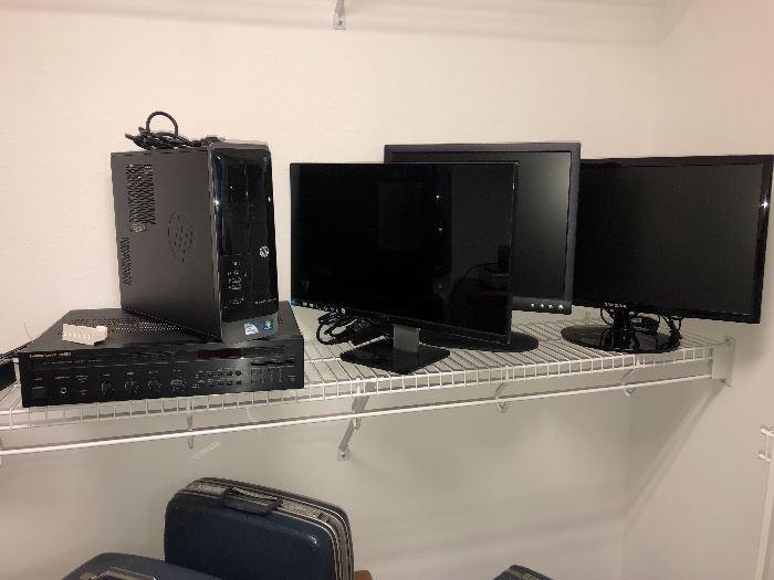 electronics       HP computer.      Monitors.    TV        Vintage luggage
