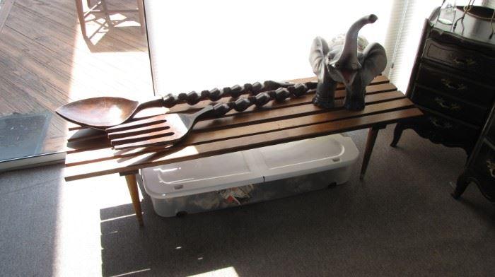 MCM wall art, Slat Table / Bench.