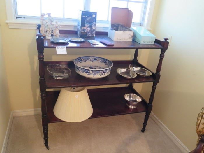 trolley or dumb waiter, huge Mason blue willow basin,