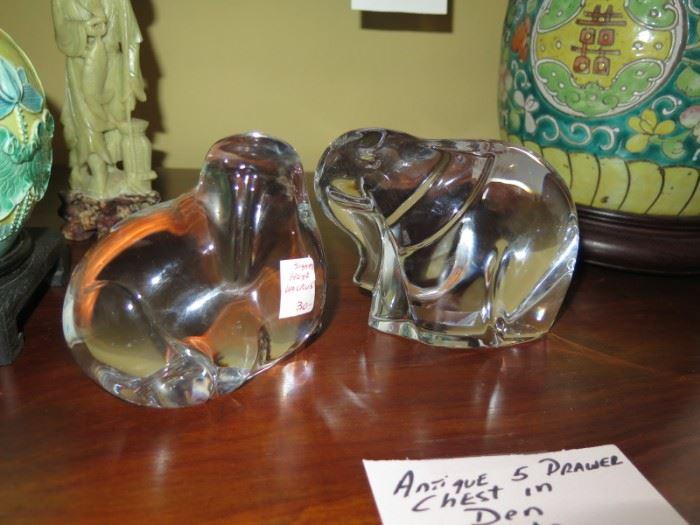 very heavy Hoya crystal walrus and elephant