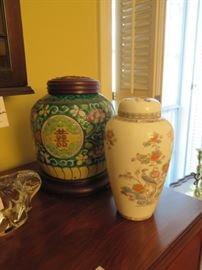 ginger jars, one very old with hand carved lid, the other is by Wedgwood