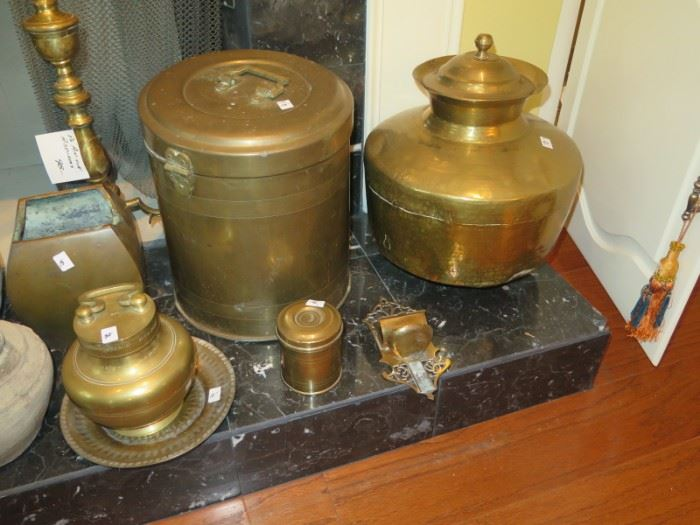 large brass container pots