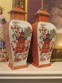 pair Mottahedeh ginger jars