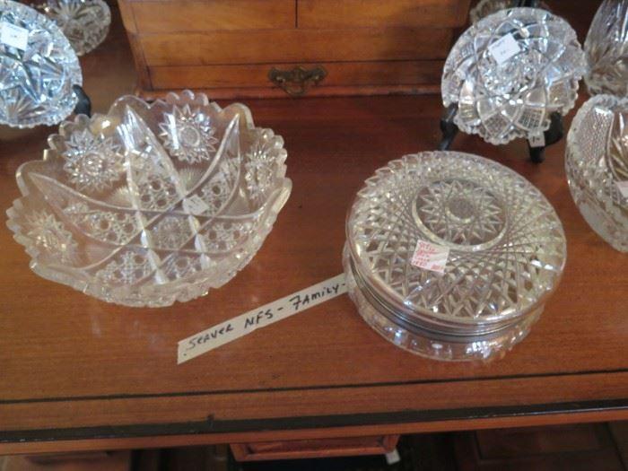 cut glass powder box, bowls, nappies