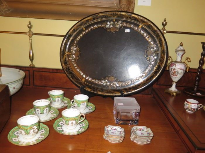 paper mache tray with inlaid MOP, english registry cups