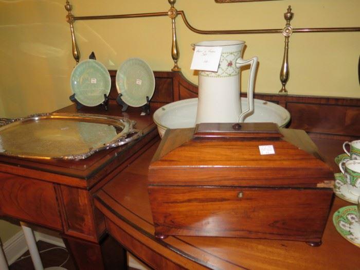 rosewood tea caddy, large bowl pitcher