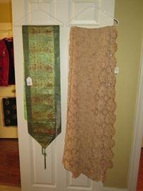 silk runner and crochet tablecloth